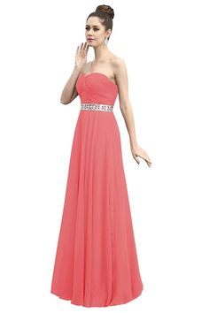 Dora Bridal Women´s Ruched Chiffon Sweetheart Bridesmaid Prom Dresses Size 8 US Watermelon -- Awesome product. Click the image : Bridesmaid Dresses