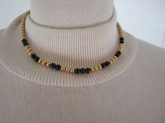 "Vintage Black Glass & Gold Tone Beads 1/20 -12KT Gold Filled Choker Necklace 16"" by Dockb30Crafts on Etsy"