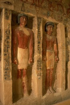 "Statues of the Irukaptah's family, east wall from the Mastaba of Irukaptah ""tomb of the butchers"", Saqqara. Old Kingdom, 5th Dynasty, ca. 2494-2345 BC."