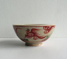Ceramic sake/tea cup - Japanese antique - phoenix - hand painted - Kutani ware - WhatsForPudding