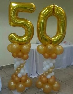 Birthday Ballon Decorations, 50th Birthday Balloons, 50th Wedding Anniversary Decorations, Balloon Decorations, 50th Anniversary, 50th Birthday Party Ideas For Men, Moms 50th Birthday, 60th Birthday Party, 50th Party