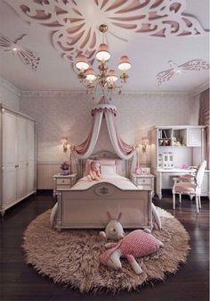 Feminine bedroom interior design for little girl's bedroom