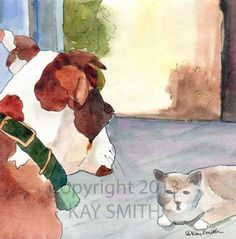 Staredown: Dog vs. Cat, painting by artist Kay Smith