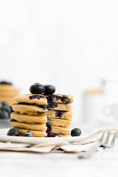 Healthy One-Bowl Blueberry Pancakes