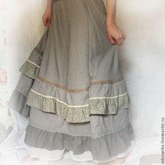 """Купить Юбка """"Утренний туман"""" - бежевый, однотонный, домашняя юбка, юбка бохо, юбка с кружевом"""
