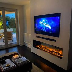 Fireplace Feature Wall, Wall Mounted Fireplace, Slate Fireplace, Brick Fireplace, Electric Fireplace, Brick Wall, 1930s Living Room, Living Room Decor Cozy, Home Entertainment Centers