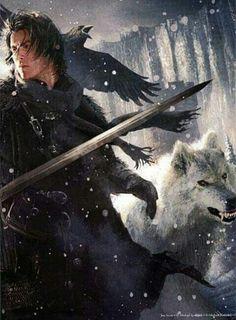 Lord Commander Jon Snow & Ghost by Michael Komarck