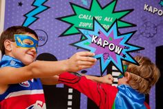 Superhero Party / Superhero Themed Photobooth Signs / by JoStudioPartyPaperie on Etsy / KAPOW Printable Party Collection for a Superhero / Villan themed Party / Purple Green and Blue / Superhero Birthday Party / Kids Parties / Stationery / Jo Studio for a Superhero Party Styling by Lola and Co Party Styling