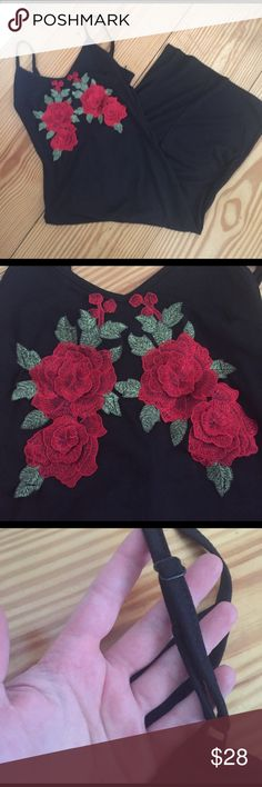 Size small appliqué rose dress NEW Never worn size small. Calf length and fitted the whole way down. Adjustable spaghetti straps bought for myself but don't like the way it fits! Accepting all offers 😀 Dresses Midi