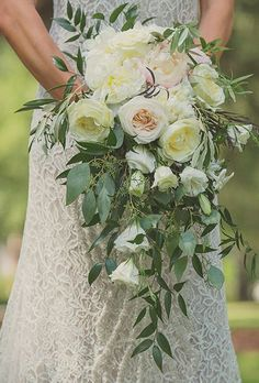 Cascading Blush Bouquet of Garden Roses, Peonies, and Greenery. Jessica and Michael's Charming wedding in Bluffton, South Carolina was practically brimming with gorgeous blooms. The bride's bouquet was no exception. She chose a cascading arrangement. Cascading Wedding Bouquets, Peony Bouquet Wedding, Blush Bouquet, Blush Wedding Flowers, Cascade Bouquet, Bride Bouquets, Bridal Flowers, Floral Wedding, Trendy Wedding