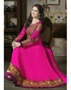 Online store of designer georgette long anarkali gown suit designed with heavy embroidery and stone work. Robe Anarkali, Long Anarkali Gown, Costumes Anarkali, Anarkali Suits, Lehenga, Anarkali Churidar, Punjabi Suits, Shraddha Kapoor, Salwar Suits Party Wear