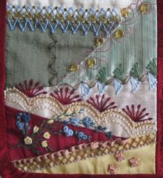 A Doll's Crazy Quilt by Shirlee Hand Work Embroidery, Types Of Embroidery, Lace Embroidery, Embroidery Stitches, Crazy Quilt Stitches, Crazy Quilt Blocks, Crazy Quilting, Quilting Projects, Sewing Projects