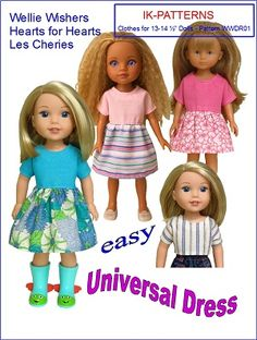 "Universal Dress Pattern. Fits Wellie Wishers, Hearts for Hearts, Les Cheries, Paola Reina dolls. 13"" 14"" 14.5"" doll clothes patterns #ikpatterns"