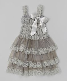 Look what I found on #zulily! Gray Lace Ruffle Dress - Infant, Toddler & Girls #zulilyfinds