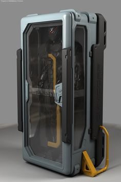 robocop storage case. i like the colour pallet in this and think it would work well with my pillar idea. using dark metal tones with a mustard yellow accent could work well in my design
