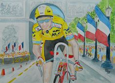 Greg Lemond, 1989 Tour de France, Paris, 11x15, watercolor, sep 1, 2015. In the closest tour in history, 1986 Tour champion Greg LeMond was trailing two-time champion Laurent Fignon by fifty seconds at the start of the final stage, a time trial into Paris. LeMond rode for an average speed of 54.55 km/h (34.093 mph),In the second fastest time trial ever ridden in the Tour de France, and won the stage. and the Tour ,  The final margin of victory was only eight seconds. It was Lemonds 2nd Tour…