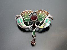 Art Nouveau Egyptian Revival Brooch. Plique A Jour Enamel.