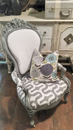 Antique Victorian Parlor Chair Makeover upcycled ... now modern chic reupholstered in fresh fabrics and painted weathered gray - come see the before here on faceook https://www.facebook.com/media/set/?set=a.942854609087842.1073742028.539668809406426&type=1