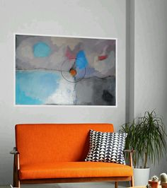 Abstract Large Painting Modern Artwork White grey Turquoise Blue Orange Contemporary Wall Decor Acrylic Charcoal 100 x 70 cm, 40 x 28 in by AjdinovicStudio on Etsy