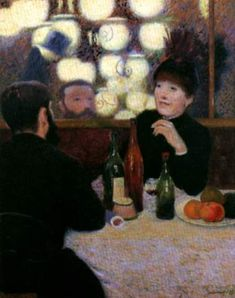 Frederico Zandomeneghi- Cafe Athenes. He was an Italian Impressionist and friend of Edgar Degas