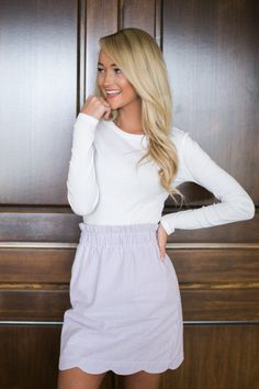 Scalloped Seersucker Skirt - http://www.laurenjames.com/collections/skirts/products/scallop-seersucker-skirt