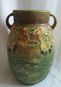 ◭ Penchant for Pottery ◮  Roseville pottery blackberry vase