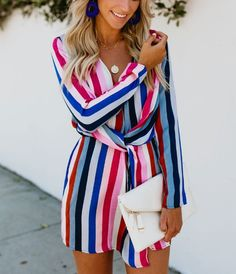 22.99 Stripe V Neck Bandage Long Sleeve Vacation Dresses Product  Description Material Polyester Element Simple Pattern 928659f46