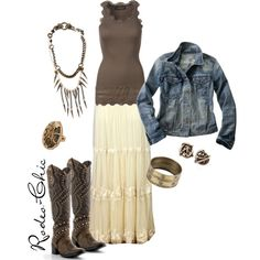 Western, maxi skirt and cowboy boots, skirt @Maverick Western Wear ; ring @House of Harlow 1960