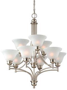Design House 517136 517136 Bristol 9 Light Chandelier Satin Nickel