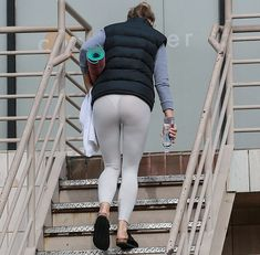 January 8 2018: Actress Gwyneth Paltrow was photod going to yoga class yesterday  and she was wearing THONG UNDERWEAR for her workout in Santa Monica. And while she was walking up the stairs  her drawers slid over . . . and showed more than she expected. Here is the first pic Here is the second pic