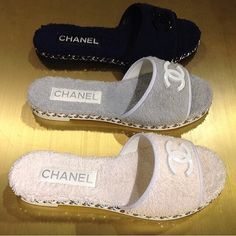 Chanel towel shoes. They need to go on sale. Need these for le vacation!