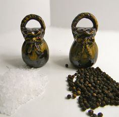 Vintage Pottery Salt & Pepper Shakers  Feed Sack by FeliceSereno, $4.00