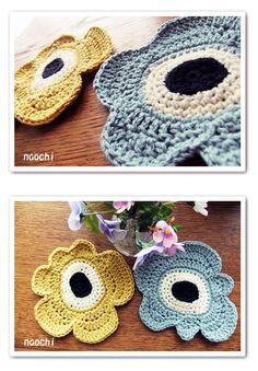 Unikko pattern by Marimekko - crochet poppy flower idea, scale this up for a rug Crochet Home, Diy Crochet, Crochet Poppy, Knitting Patterns, Crochet Patterns, Yarn Inspiration, Knitted Flowers, Marimekko, Learn To Crochet