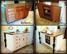 DIY Kitchen Island Renovation - used salvaged wood, trim, table legs and extra paint - total cost right around $35.00!!