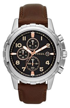 Men's Fossil Notched Bezel Leather Strap Chronograph Watch