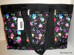 LeSportsac TRAVEL TOTE Large *New* Black w/ Floral 7008 D359 Pouch MSRP $104 NWT #LeSportsac #TravelBag