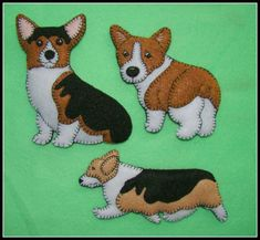 This listing is for the actual CORGI shown in the first two photos. Additional photo shows two of many other Corgi patterns available.   (Please visit my sold orders to see the many other designs I can make for you.)  My offerings are my own unique and original designs, and are my interpretation of the animal or breed depicted. They are made of felt and hand embroidered, and may be whimsical or realistic, (depending on my mood when I'm designing.) Unless otherwise noted, each item has a tiny…
