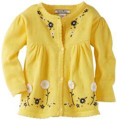 Hartstrings Baby Girls' Cotton Long Sleeve Cardigan Sweater w/Crochet