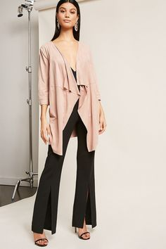 Draped Front Duster Jacket - Women - Outerwear - 2000277177 - Forever 21 Canada English