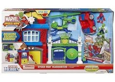 """Spider-Man and Lizard are ready for battle with this Marvel Adventures Playskool Heroes Headquarters playset by Hasbro.  Product Features: *Web attaches and swings Spider-Man figure. *Doors and windows open and rotate for active play. *Fire escape launches villain figure.   Product Details: *Includes: playset, Spidey Sports Car, Lizard Copter, Spider-Man figure, Lizard figure & storybook *14.02""""H x 24.02""""W x 5""""D (packaged) *Ages 3 to 6 years"""