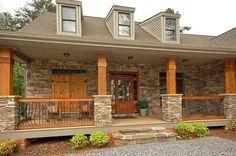 Stone Porch Columns Gorgeous Front Porch Wood And Stone Columns . Front Porch Railings, Front Porch Design, Front Porch With Columns, Wood Columns Porch, Porch Wood, Houses With Front Porches, Covered Front Porches, Porch Designs, Front Deck
