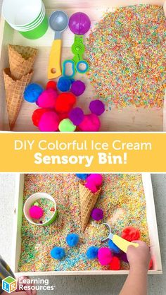 Your toddlers will love this colorful ice cream sensory bin! Did you know that July is National Ice Cream Month? Celebrate with this colorful ice cream sensory play bin for your toddler! Toddler Sensory Bins, Sensory Activities Toddlers, Sensory Tubs, Sensory Boxes, Toddler Play, Toddler Learning, Infant Activities, Fall Sensory Bin, Sensory Diet