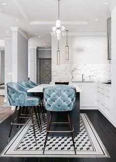 Pinspiration: Add A Touch Of Luxury With Velvet Decor - Apar.- Pinspiration: Add A Touch Of Luxury With Velvet Decor – Apartminty Baby Blue Tufted Kitchen Bar Stools & Stunning White Marble Interior Design Minimalist, Minimalist Decor, Interior Design Kitchen, Interior Decorating, Minimalist Bedroom, Minimalist Living, Minimalist Kitchen, Modern Minimalist, Decorating Ideas