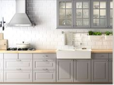 Either the price is one of the things you have to keep in mind, or not, there are enough IKEA kitchen design ideas here to inspire you into getting exactly what you want for your new or remodeled kitchen. We have found interesting takes on how you can redesign your kitchen with IKEA furniture and details, and how you can get them personalized for you to get a kitchen that feels more yours than something out of a catalog. Go ahead and take a look at the outstanding ideas we put together for you. Grey Kitchen Cabinets, Kitchen Redo, Kitchen Countertops, New Kitchen, Kitchen Remodel, White Cabinets, Kitchen White, Kitchen Backsplash, Grey Cupboards