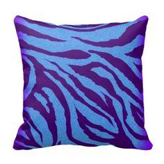 Blue/Indigo Zebra Print Pillow #animalprint