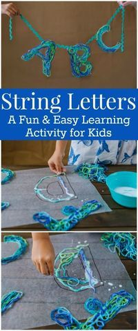 String Letters – An Alphabet Craft with Game Ideas for Kids How to Make String Letters with Yarn and Glue – This is a fun and easy Alphabet Craft for kids. It includes alphabet Game Ideas for Kids using the string letters. Kids Learning Activities, Alphabet Activities, Preschool Activities, Teaching Resources, Preschool Readiness, Nursery Activities, Preschool Alphabet, Crafts For Boys, Projects For Kids