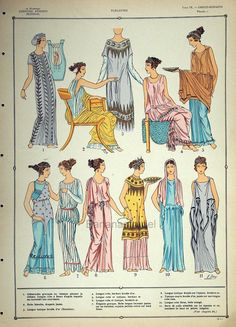 1925 French Art Deco Hand Coloured Pochoir Print on Greco-Roman Women's Fashions. Historical Costume, Historical Clothing, Ancient Greek Clothing, Moda Art Deco, Greek Dress, Roman Clothes, Art Deco Stil, Roman Fashion, Greek Art