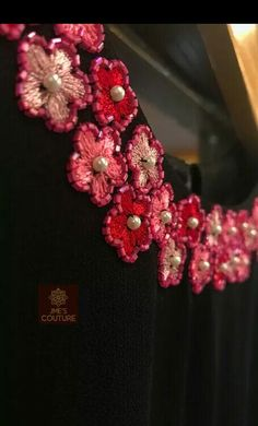Best 11 Black kurty neck design Details and rate 9895473878 Embroidery On Kurtis, Hand Embroidery Dress, Kurti Embroidery Design, Hand Embroidery Videos, Embroidery On Clothes, Embroidery Flowers Pattern, Flower Embroidery Designs, Embroidery Motifs, Creative Embroidery