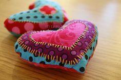 Polka and Bloom...applique hearts by Carina Envoldsen-Harris