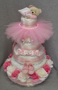 Girl Diaper Cake #timelesstreasure